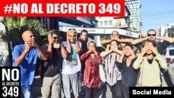 Artistas cubanos contra el Decreto 349.