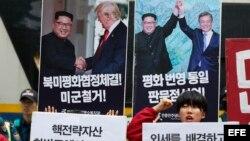 Protesta contra los ejercicios militares conjuntos de Ulchi Freedom Guardian en Seúl.