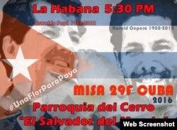 Un cartel anuncia la misa en honor de Oswaldo Payá y Harold Cepero.
