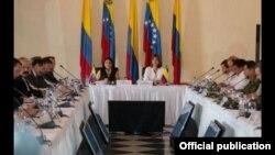 Cancilleres de Venezuela y Colombia reunidos en Cartagena.