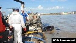 Derrame de petróleo en la Bahía de Cienfuegos en 2018.